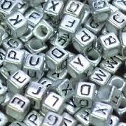Bead Block Alphabet (Plastic Silver Color Cube Alphabet Beads, 6mm, 800 beads (150 grams))