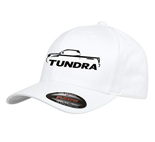 (Toyota Tundra Pickup Truck Outline Design Flexfit hat Cap Small/Medium White)