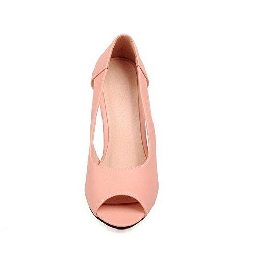 FANIMILA Mujer Moda Sin Cordones Sandalias Punta Abierta Tacon de Aguja Oficina Vestir Zapatos Rosado