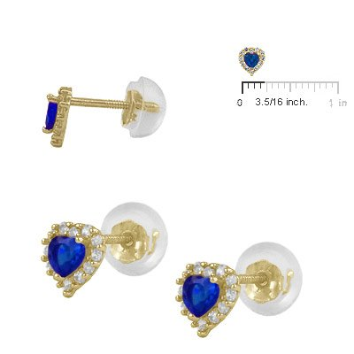 Little Girls 14K Yellow Gold Simulated September Birthstone Silicone Back Heart Earrings
