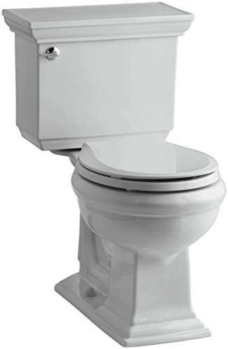 KOHLER K-3933-U-95 Memoirs Stately Comfort Height Two-Piece Round-Front 1.28 Gpf Toilet with Aquapiston Flush Technology, Insuliner Tank Liner and Left-Hand Trip Lever, Ice Grey