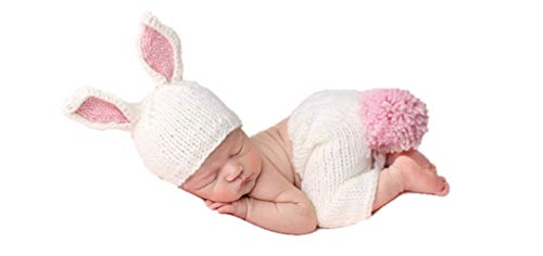 Newborn Baby Girl/Boy Crochet Knit Costume Photography Prop Hats and Outfits (White Bunny)]()