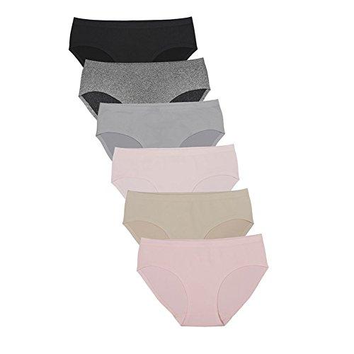 Cut Underwear Laser Hipster (Zeemey 6 Pack Women's Underwear Seamless Brief Nylon Spandex Hipster Panties (Medium))