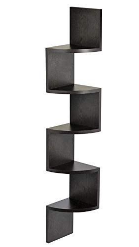 Viki Furniture Zigzag Wall Mount Corner Shelf Unit 5 Shelves