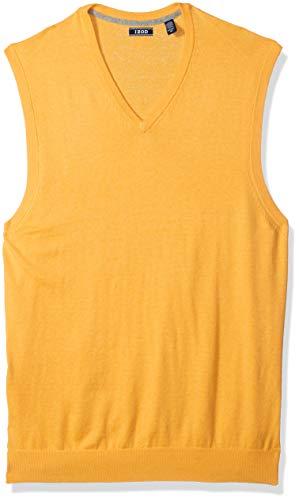 Yellow Sweater Vest - IZOD Men's Big and Tall Premium Essentials Solid V-Neck 12 Gauge Sweater Vest, Sunset Gold, 4X-Large