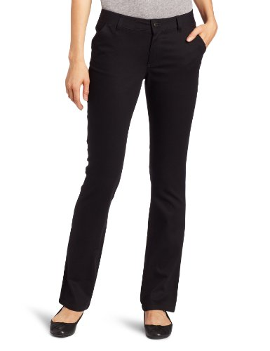 LEE Uniforms Juniors Curvey Straight Leg Pant, Black, 5 by LEE
