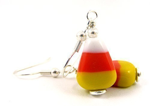 [Candy Corn Glass Dangle Earrings for Fall or Halloween] (Nerd Costume Ideas Homemade)