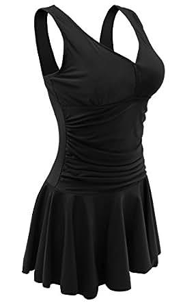 AONTUS Women's Bathing Suits Plus Size One Piece Swim Dresses Swimsuit (M,Black)
