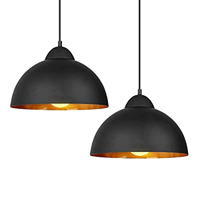 DECKEY Adjustable Pendant Light,2 Pack,Ceiling Hanging Pendant Lights,Vintage Classic Industrial Perforated Lampshade for Dinning Room/Study/Living Room