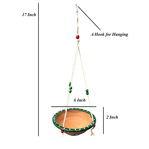 Jainsons Pet Products Birds Water Feeder Hanging Bowl for Home, Balcony and Garden, Natural earthanware Water Feeding Bowl for Birds