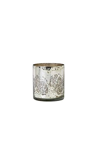"""Serene Spaces Living Antique Silver Cylinder Vase, Large Size - Handmade Mercury Glass Finish & Vintage Style, 4.75"""" Tall"""