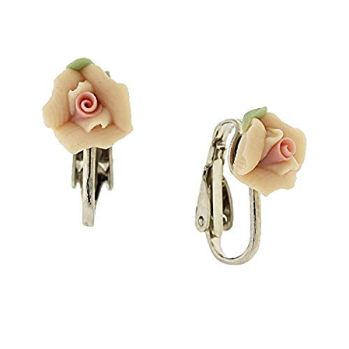 Silver-Tone Peach Color with Pink Center Porcelain Rose Clip ()