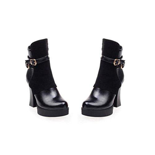 black zapatos cinturón cortas Taiwán de QX otoño zip botas grueso botas el de de redonda hembra cabeza impermeable El lado con tacón ZQ y invierno moda OxB4UwU