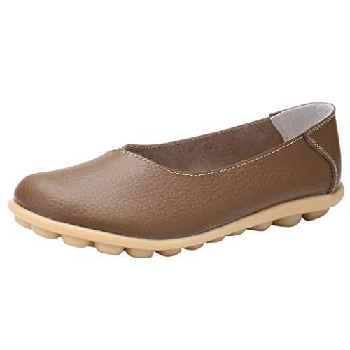 TOOPOOT Women's Flat Shoes Sandals Solid Color peas Shoes Pregnant Women Shoes Large Size Mother Shoes Khaki