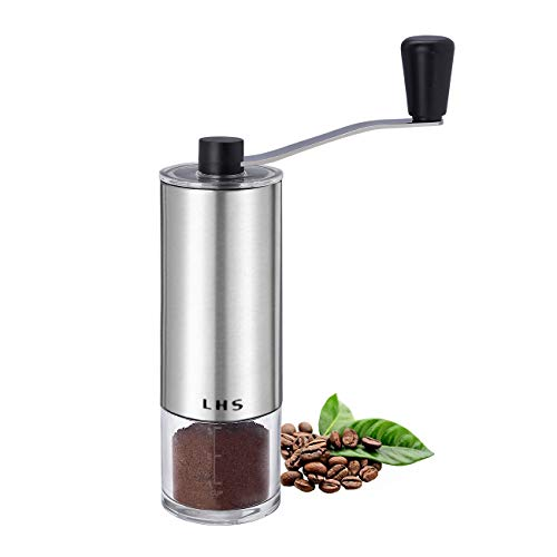 Manual Coffee Grinder with Adjustable Ceramic Conical Burr Brushed Stainless