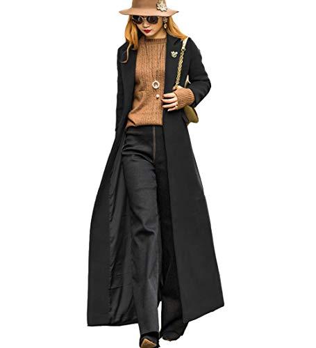 S&S-women Sweet Heart Solid Splicing Lapel Double Breasted Side Pocket Wool Pea Coat (X-Small, Black)