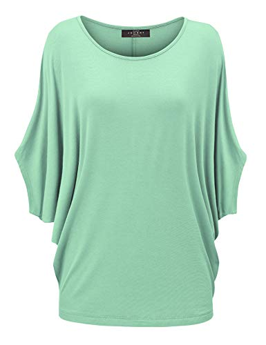 WT1073 Womens Scoop Neck Half Sleeve Batwing Dolman Top XXL Mint