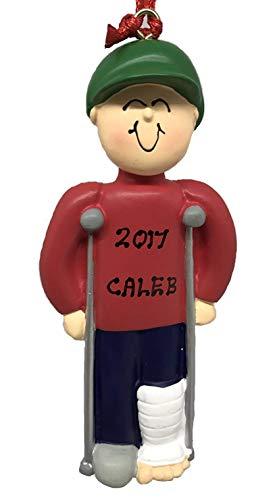 Personalized Male Crutches Broken Leg Christmas Ornament 2019