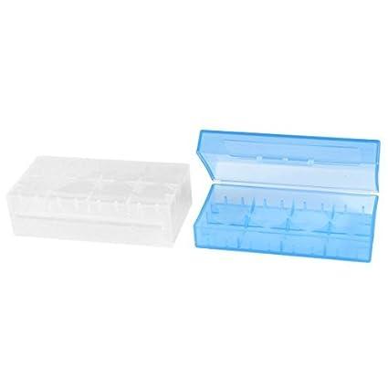 eDealMax Titular 2 piezas Azul claro caja de batería de plástico Para Dual 18650