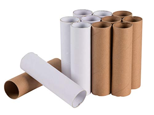 Craft Rolls - 12-Pack Cardboard Tubes, DIY Artrolls, Empty Toilet Paper Rolls, Craft Supplies for Classroom Projects, Kids Art and Craft, White and Brown, 1.625 x 1.625 x 5.9 Inches (Crafts To Make With Toilet Paper Rolls)