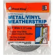 V38h 5/8X17' Metal & Tubular Vinyl Weather Strip Kit Silver (2-17v) by Frost (Tubular Strip)