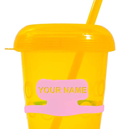 Customized Cup Tag Names | 4 Personalized Name Tag Labels for Boys | Daycare Labels | School Labels | Drink Markers | Kids Water Bottles Toddlers Cups | Kids Names | Name Labels for Children (Pink)