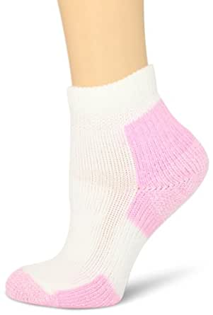 Thorlos Women's Thick Padded Walking Socks, Mini Crew, White/Pink, Large (Women's Shoe Size 9.5-11.5)