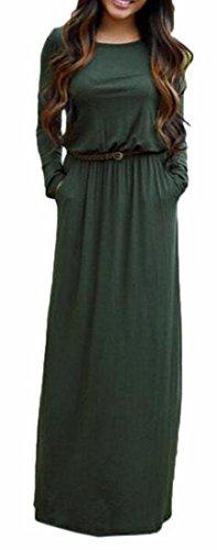 Flowy Sleeve V Formal Dress Green Maxi Womens Evening Long Neck Full Jaycargogo UXxqTHwB0