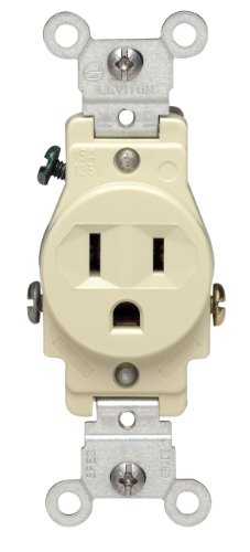 Leviton 5015-I 15 Amp, 125 Volt, Narrow Body Single Receptacle, Straight Blade, Commercial Grade, Grounding, Ivory