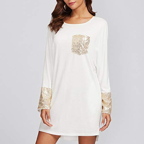 PASATO Fashion Womens Round Neck Dress Sequined Pocket Casual Loose T-Shirt Dress(White,XL=US:L) by PASATO Dress (Image #3)