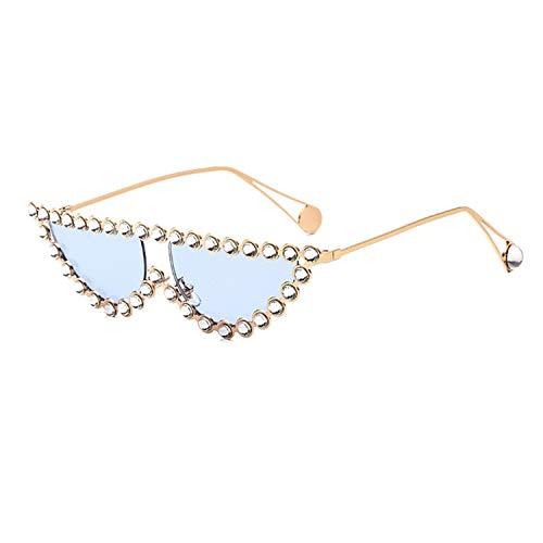 Beauty-OU Luxury Brand Designer Crystal Women Transparent Hot Fashion Sunglasses Rhinestone Rays Italian Cat Eye Sun Glasses,Gold Blue
