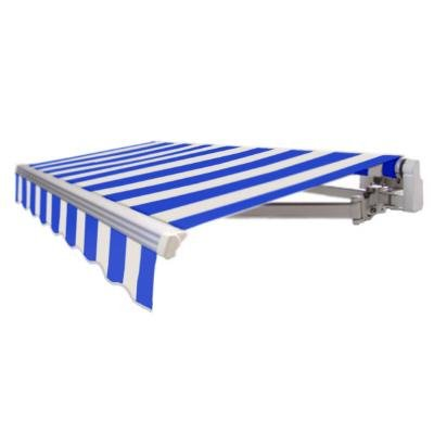 AWNTECH 12 ft. Maui Motorized Retractable Awning in Bright Blue and White Stripe (Left Side Motor)
