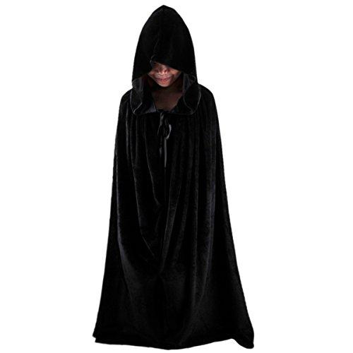 Samtree Adult Halloween Costume Cape,Role Play Long Hooded Velvet Cloak(S(Length:43.30 (Adult Purple Hooded Robe Costume)