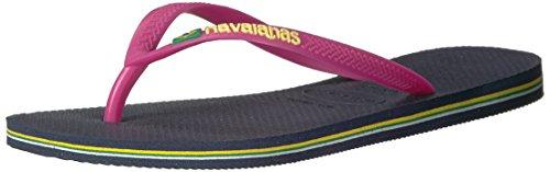 Havaianas Women's Slim BrazilFlip Flop Sandal,Navy Blue, 39/40 BR(9-10 M US Women's / 8 M US Men's)