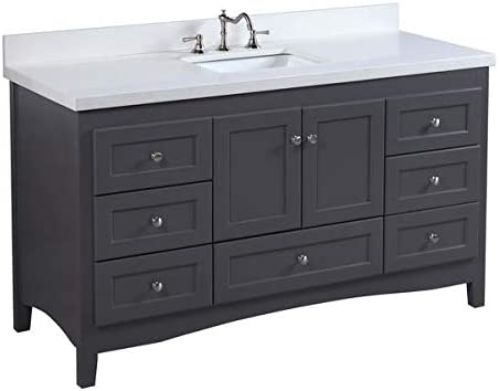 Abbey 60-inch Single Bathroom Vanity Quartz/Charcoal Gray : Includes Charcoal Gray Cabinet