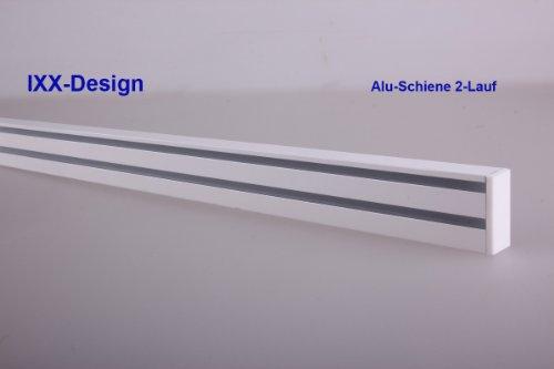 ALU Schiene 2-Lauf weiß, Gardinenschiene für Flächenvorhänge. Bis 500 cm am Stück lieferbar. Preisangabe für je 10cm