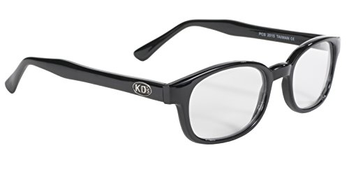 Pacific Coast Original KD's Biker Sunglasses (Black Frame/Clear Lens) ()