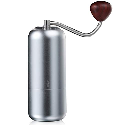 HoJax Hero manual coffee grinder - Conical Burr Mill Stainless Steel Hand Brewing S07 Propeller,Silver