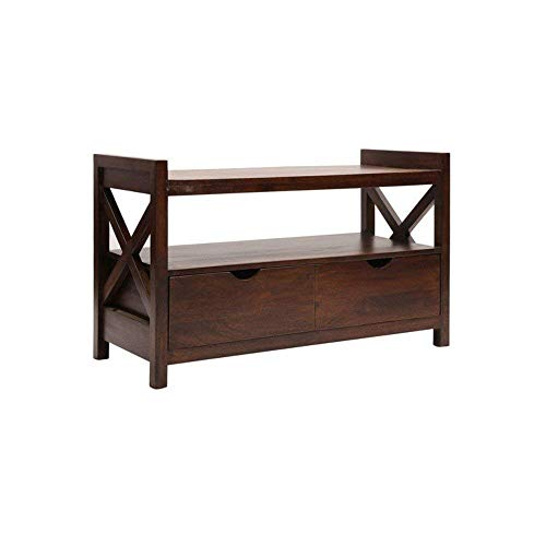Craftatoz Solid Wood TV Stand Entertainment Unit for Home with Drawer | Walnut Finish