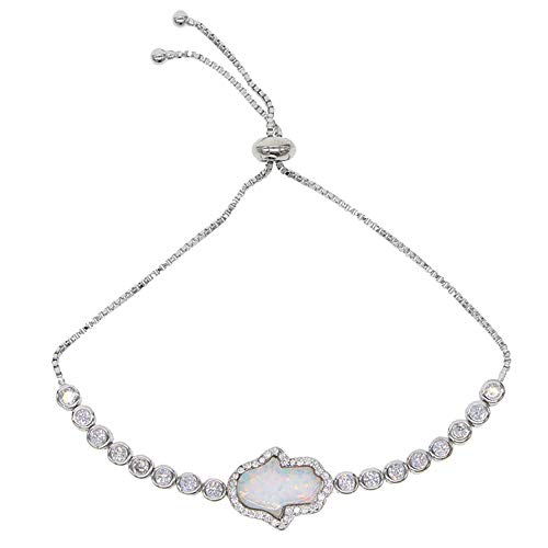 Hand Charm Blue White Opal Tennis Bracelet Delicate Trendy Lucky Slider Fashion Jewelry (Platinum Plated) ()
