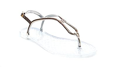 Bamboo Women's Thong Sandal with Duel Strapped Gold Upper and Clear Jelly Sole