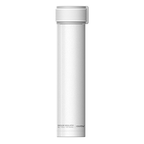 The Asobu Skinny Mini 8oz Fashion Forward Double Walled Stainless Steel Insulated Water Bottle (White) (Insulated Water Bottle 8 Oz)