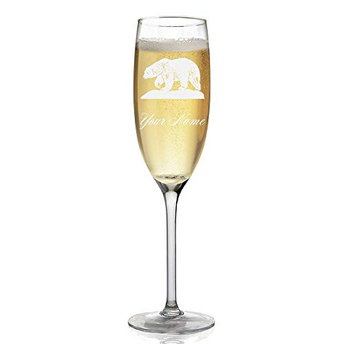 Champagne Glass, Polar Bear, Personalized Engraving Included