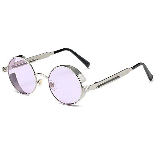 Style de de Circle soleil Réfléchissant Steampunk lunettes rétro les Metal soleil lunettes hommes inspiré Round GAOLIXIA Violet pour Polarized Mme wEYFq