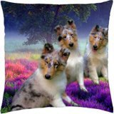 Blue Merle Rough Collie Puppy Trio - Throw Pillow Cover C...
