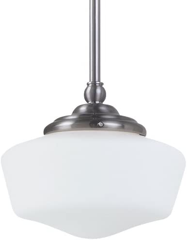 Sea Gull Lighting 65436BLE-962 Pendant with White Schoolhouse Glass Shades, Brushed Nickel Finish