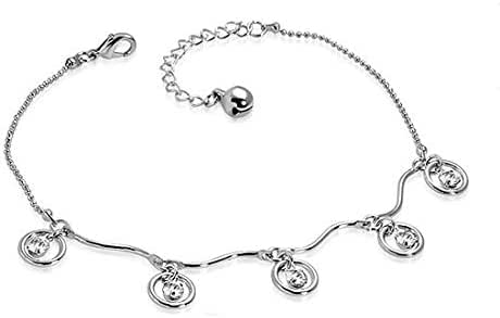Wavy Circle Jingle Bell Charm Bracelet/anklet for women