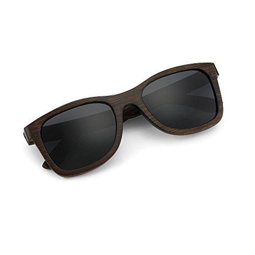 GEARONIC TM Polarized Wood Wooden Mens Womens Bamboo Vintage Sunglasses Eyewear with Bamboo box - - Hut Sunglass Number
