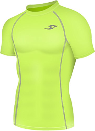 New 130 Neon Green Skin Tights Compression Base Layer Short (Tight Short Sleeve Top)
