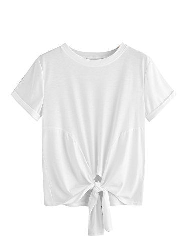 Short Sleeve T-shirt Tie (MakeMeChic Women's Summer Crop Top Solid Short Sleeve Tie Front T-Shirt Top White# S)